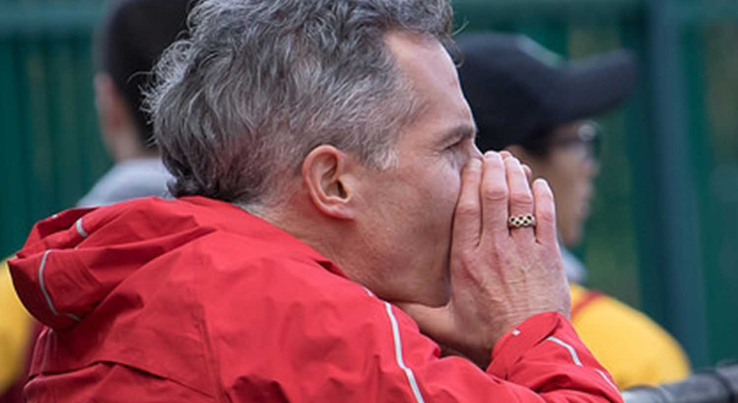 Bruce cheering and coaching